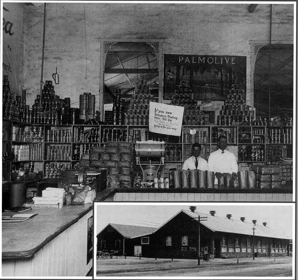 old picture of the co-op store in port pirie with two men standing behind the counter