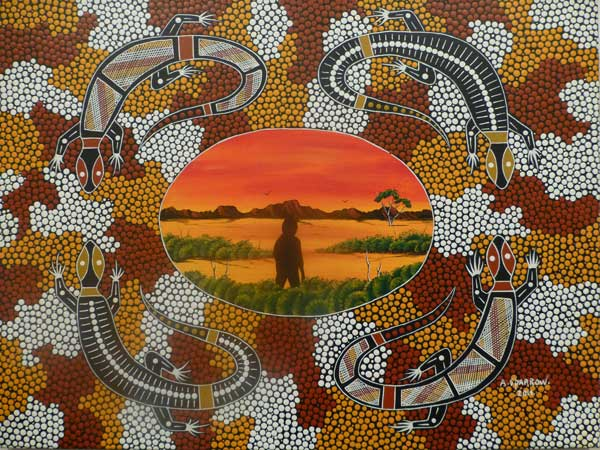 Aboriginal painting of a man standing in the middle surrounded by 4 goannas