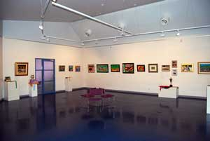 wide angle shot of PP Regional Art Gallery with pictures on the walls