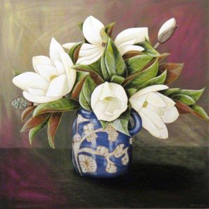 Magnolias from my garden in Annie's blue jug - $995