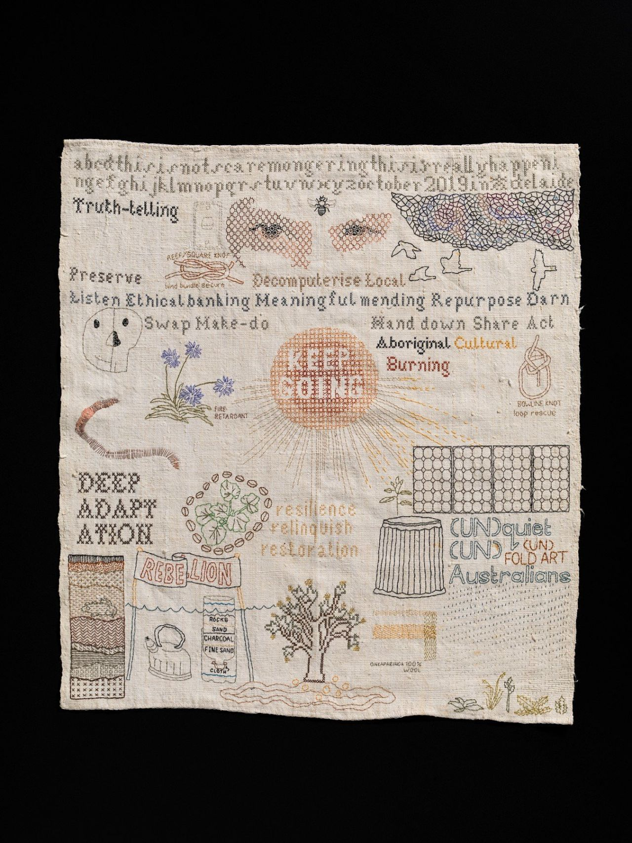 Sera Waters, Survivalist Sampler, 2019-2020 cotton, glow-in-the-dark thread, found materials on repurposed linen 42cm (W) x 45cm (H) Photograph Grant Hancock