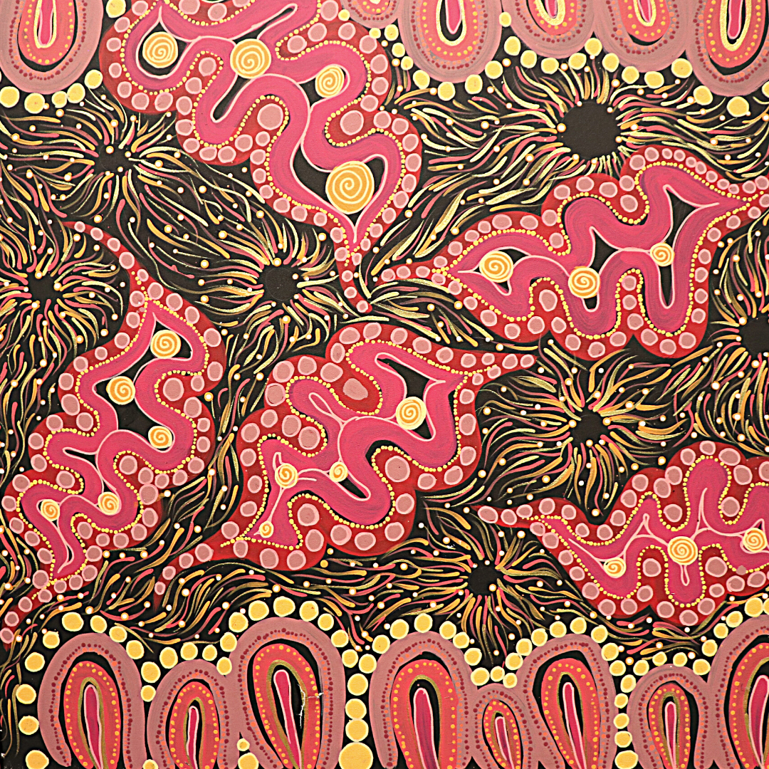 Marli Macumba, Desert Flowers 2021 (detail). Acrylic on Canvas, 100 x 100cm. Image used with permission from the artist Image copyright Marli Macumba 2021